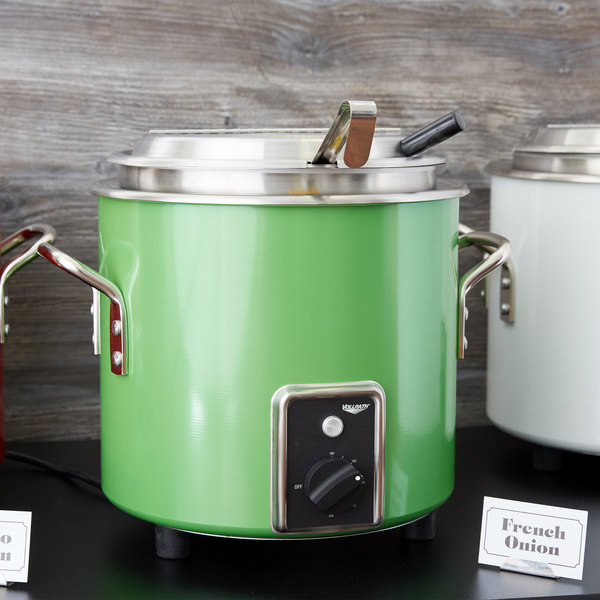Vollrath 7217735 Green Apple Finish Retro 7 Qt. Stock Pot Kettle Rethermalizer - 120V, 1450W