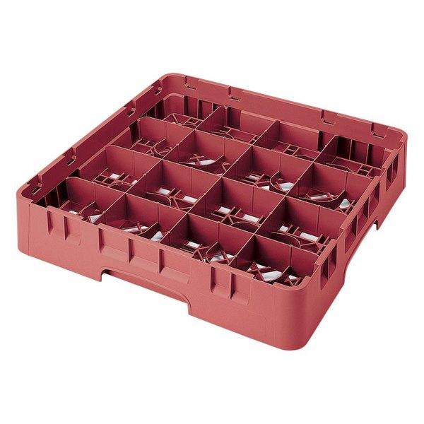 "Cambro 16S434-416 Camrack 5 1/4"" High Customizable Cranberry 16 Compartment Glass Rack Main Image 1"