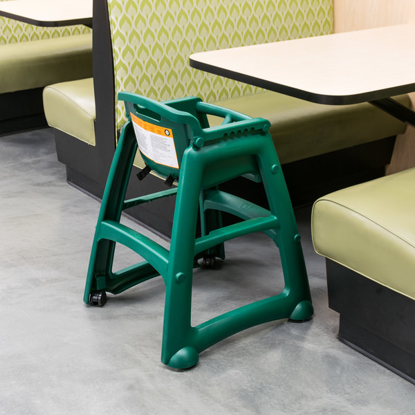 Rubbermaid FG780508DGRN Green Sturdy Chair Restaurant High Chair With Wheels    Assembled