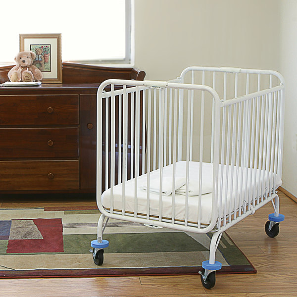 "L.A. Baby Deluxe Holiday Crib 24"" x 38"" Metal Folding Crib with 3"" Mattress"