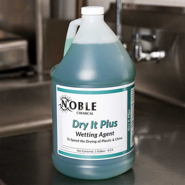 Noble Chemical 1 gallon / 128 oz. Dry It Plus Rinse Aid for High Temperature Dish Machines - 4/Case