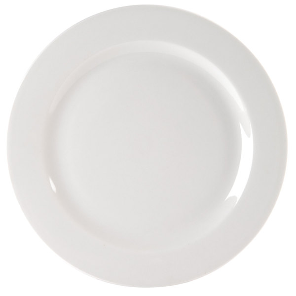 "Homer Laughlin HL6406000 Pristine Ameriwhite 11 1/8"" Bright White China Plate - 12/Case Main Image 1"