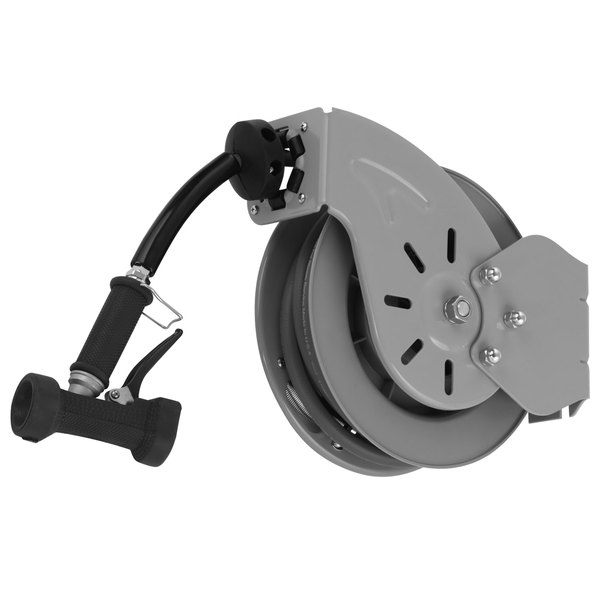 T&S B-7212-02 15' Open Epoxy Coated Steel Hose Reel with Rear Trigger Water Gun
