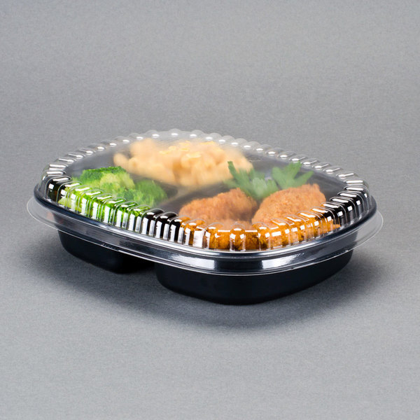 Genpak 55027 Dual Ovenable 3-Compartment Food Pan with Lid - 10/Pack