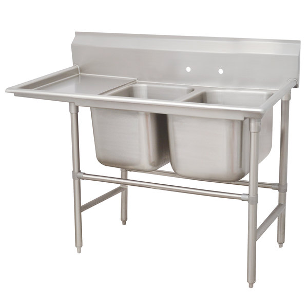 Left Drainboard Advance Tabco 94-42-48-24 Spec Line Two Compartment Pot Sink with One Drainboard - 80""
