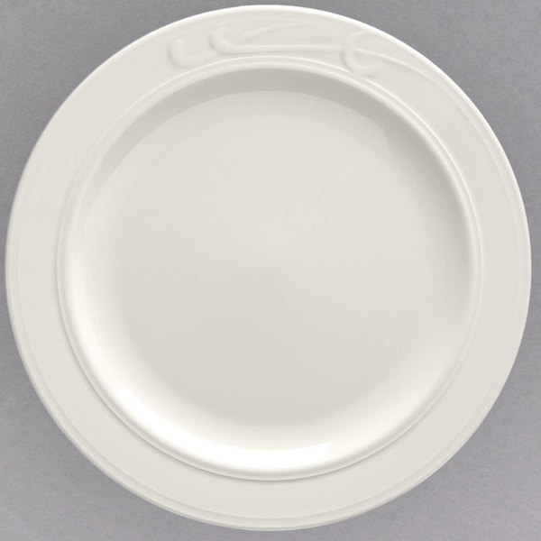"""Homer Laughlin 6081000 9 3/4"""" Ivory (American White) China Plate - 24/Case"""