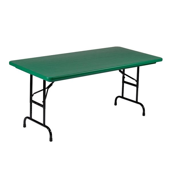 "Correll R-Series R3060 30"" x 60"" Green Plastic Folding Table"