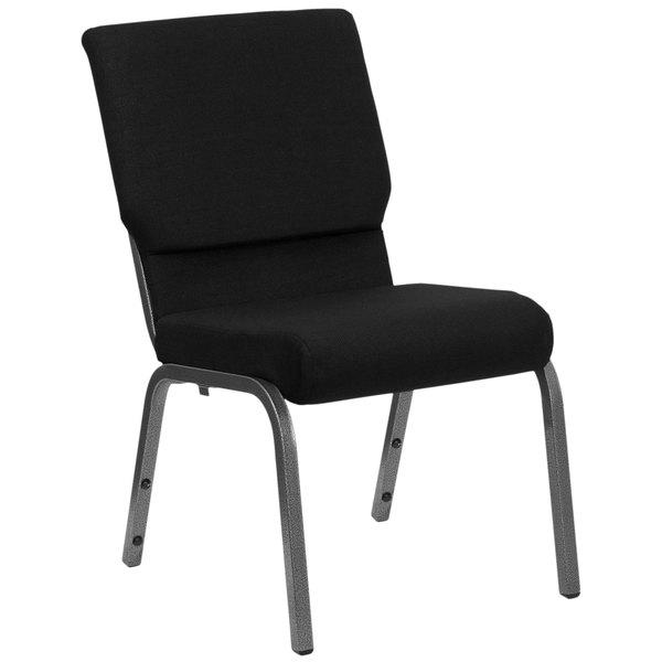 "Flash Furniture XU-CH-60096-BK-SV-GG Black 18 1/2"" Wide Church Chair with Silver Vein Frame"