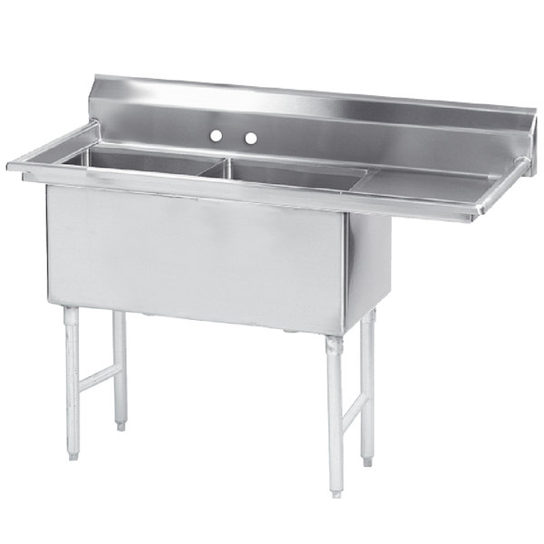 Right Drainboard Advance Tabco FS-2-1818-18 Spec Line Fabricated Two Compartment Pot Sink with One Drainboard - 56 1/2""