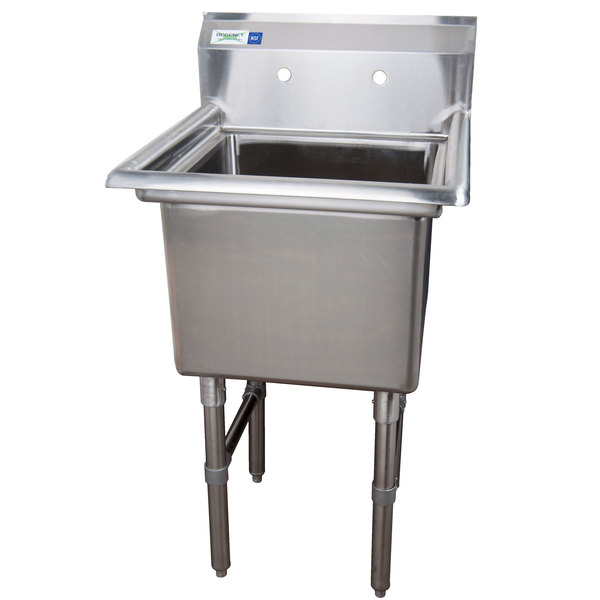 """Regency 23"""" 16-Gauge Stainless Steel One Compartment Commercial Sink without Drainboard - 18"""" x 18"""" x 14"""" Bowl"""