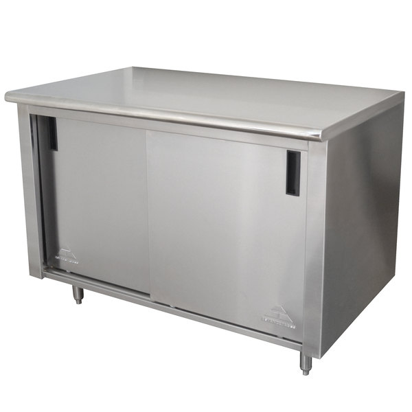 """Advance Tabco CB-SS-304M 30"""" x 48"""" 14 Gauge Work Table with Cabinet Base and Mid Shelf"""
