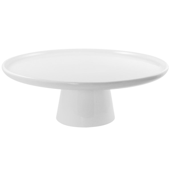 """10 Strawberry Street WTR-8CAKESTND Whittier 8 1/2"""" White Porcelain Cake Stand with Foot"""