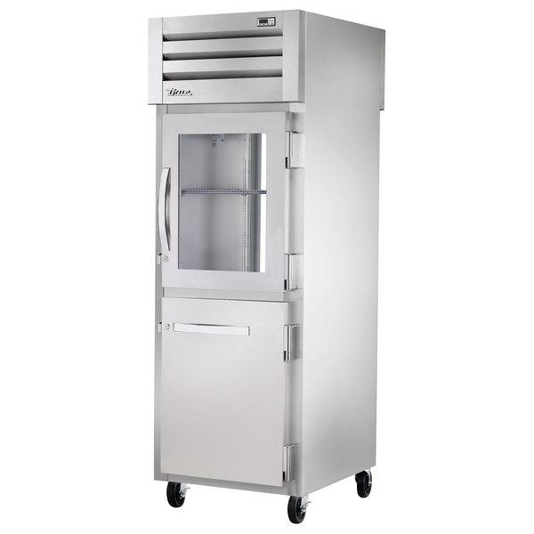 True STA1RPT-1HG/1HS-1G Specification Series Pass-Through Refrigerator with Glass Top Half Door, Solid Bottom Half Door, and Glass Rear Doors