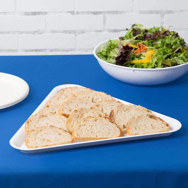 """Fineline 3561-WH Platter Pleasers 16"""" White Plastic Triangular Tray - 20/Case"""