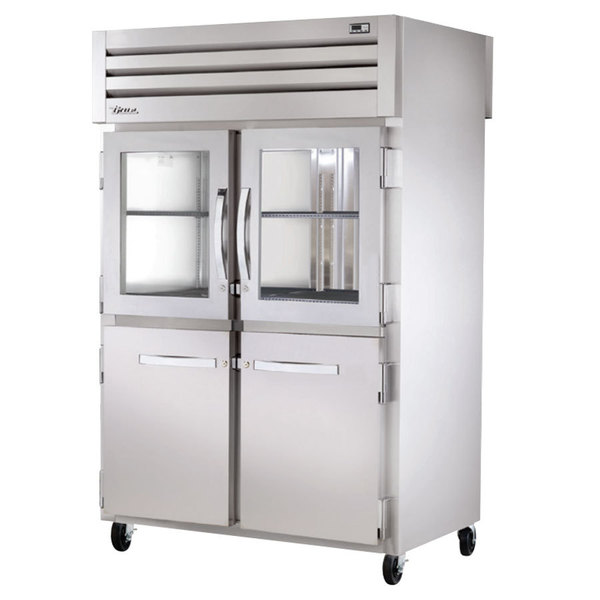 True STR2RPT-2HG/2HS-2G-HC Specification Series 52 5/8 inch Half Glass and Solid Front, Glass Back Door Pass-Through Refrigerator