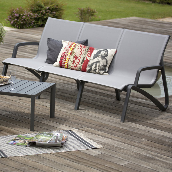 Grosfillex US003288 Sunset Solid Gray / Volcanic Black Resin Outdoor Sling Sofa - 2/Pack Main Image 2
