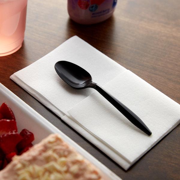 Choice Medium Weight Black Plastic Teaspoon - 100/Pack Main Image 2
