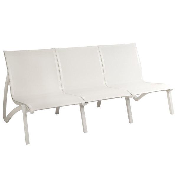 Grosfillex US003096 Sunset White / Glacier White Resin Outdoor Sling Sofa    2/Pack