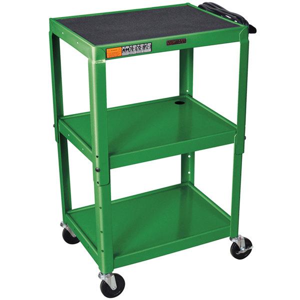 "Luxor W42AGE Green Metal 3 Shelf A/V Utility Cart 18"" x 24"" x 42"" - Adjustable Height"