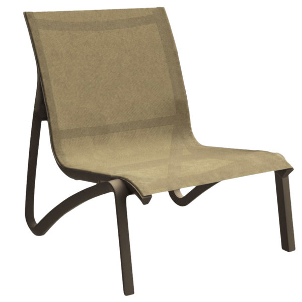 Grosfillex US001599 Sunset Cognac / Fusion Bronze Resin Outdoor Sling  Lounge Chair   4/Pack
