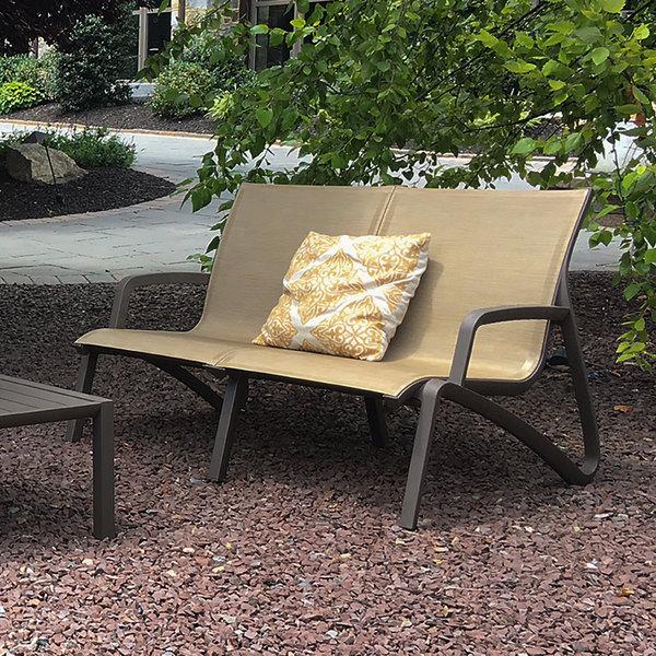 Grosfillex US002599 Sunset Cognac / Fusion Bronze Resin Outdoor Sling Loveseat - 2/Pack Main Image 2