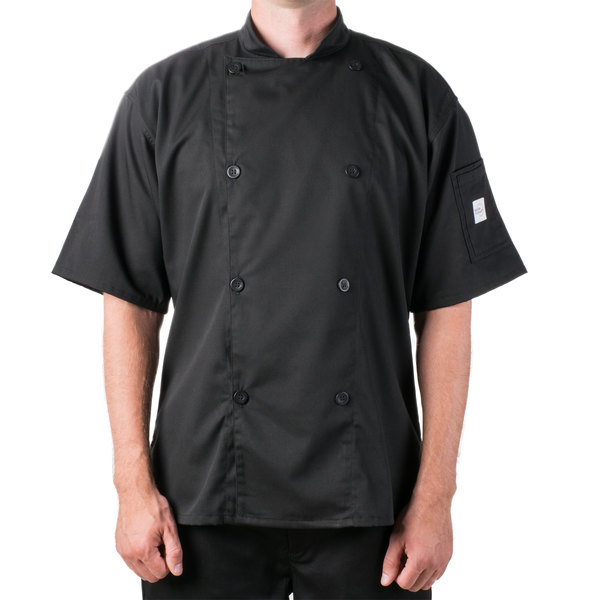 "Mercer Culinary M61012BK6X Genesis Unisex 68"" 6X Customizable Black Double Breasted Traditional Neck Short Sleeve Chef Jacket with Traditional Buttons"