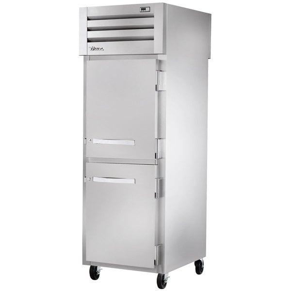 True STR1RPT-2HS-1G-HC Specification Series 27 1/2 inch Half Solid Front, Glass Back Door Pass-Through Refrigerator