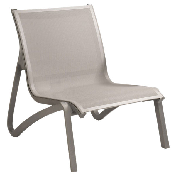 Grosfillex US001289 Sunset Solid Gray / Platinum Gray Resin Outdoor Sling Lounge Chair - 4/Pack