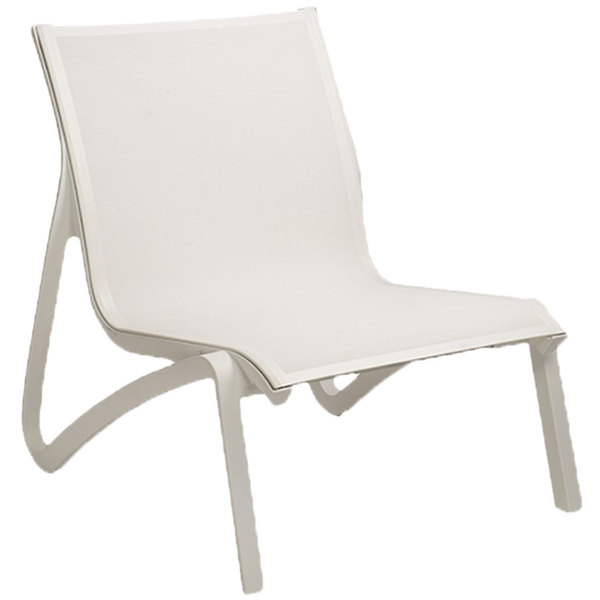 Delicieux Grosfillex US001096 Sunset White / Glacier White Resin Outdoor Sling Lounge  Chair   4/Pack