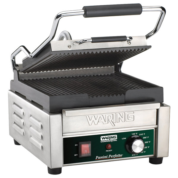 """Waring WPG150B Panini Perfetto Grooved Top & Bottom Panini Sandwich Grill - 9 3/4"""" x 9 1/4"""" Cooking Surface - 208V, 2392W Main Image 1"""