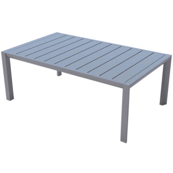"Grosfillex US004289 Sunset 24"" x 40"" Platinum Gray Aluminum Cocktail Table"