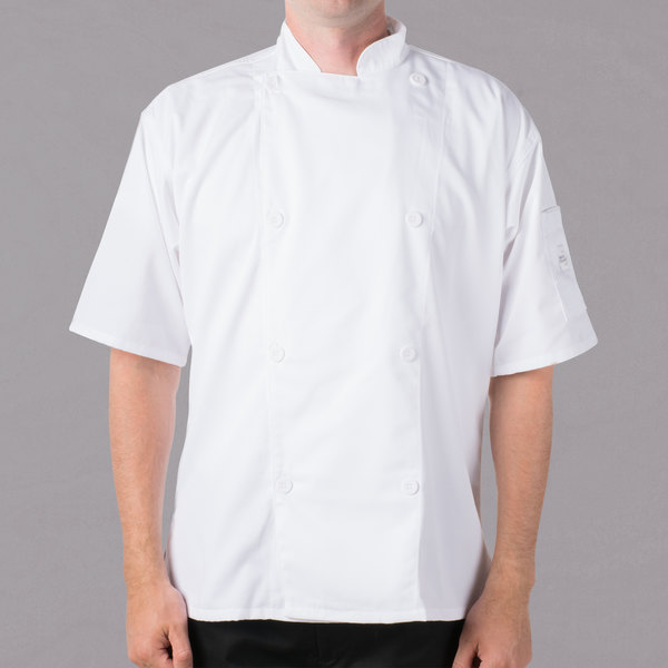 """Mercer Culinary Genesis Unisex 44"""" Large Customizable White Double Breasted Traditional Neck Short Sleeve Chef Jacket with Traditional Buttons"""