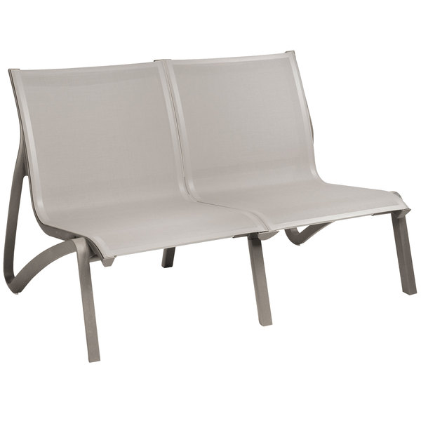 Grosfillex US002289 Sunset Solid Gray / Platinum Gray Resin Outdoor Sling Loveseat - 2/Pack Main Image 1