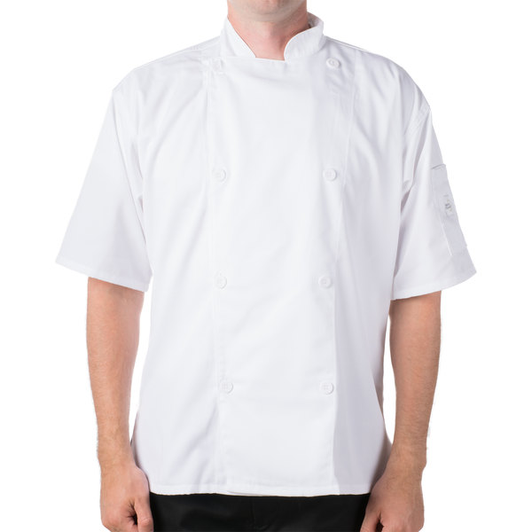 """Mercer Culinary M61012WHXS Genesis Unisex 32"""" XS Customizable White Double Breasted Traditional Neck Short Sleeve Chef Jacket with Traditional Buttons"""
