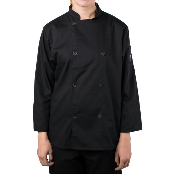 """Mercer Culinary M61030BKM Genesis Women's 36"""" Medium Customizable Black Double Breasted Traditional Neck Long Sleeve Chef Jacket with Traditional Buttons"""