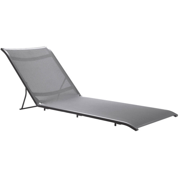 Grosfillex US107289 Sunset Solid Gray Chaise Lounge Sling with Volcanic Black Frame Attachment - 8/Pack