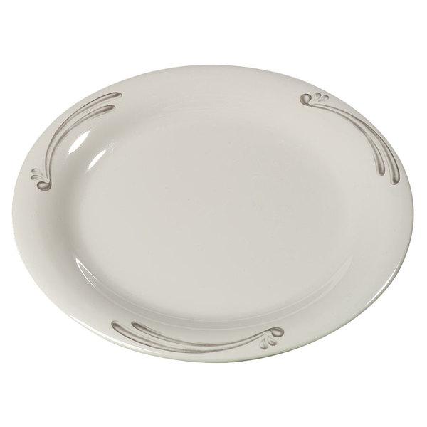 "Carlisle 43009909 Mosaic Durus 6 1/2"" Versailles on Bone Narrow Rim Melamine Pie Plate - 48/Case"