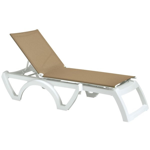 Case of 16 Grosfillex US876552 Calypso Beige / White Stacking Adjustable Resin Sling Chaise