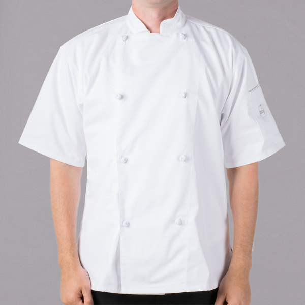 "Mercer Culinary M61022WHS Genesis Unisex 36"" Small Customizable White Double Breasted Traditional Neck Short Sleeve Chef Jacket with Cloth Knot Buttons"