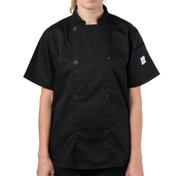 """Mercer Culinary M61032BK2X Genesis Women's 45"""" 2X Customizable Black Double Breasted Traditional Neck Short Sleeve Chef Jacket with Traditional Buttons"""