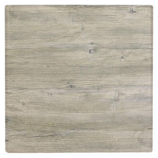 "Grosfillex US36VG71 VanGuard 36"" Square White Oak Resin Indoor Table Top"