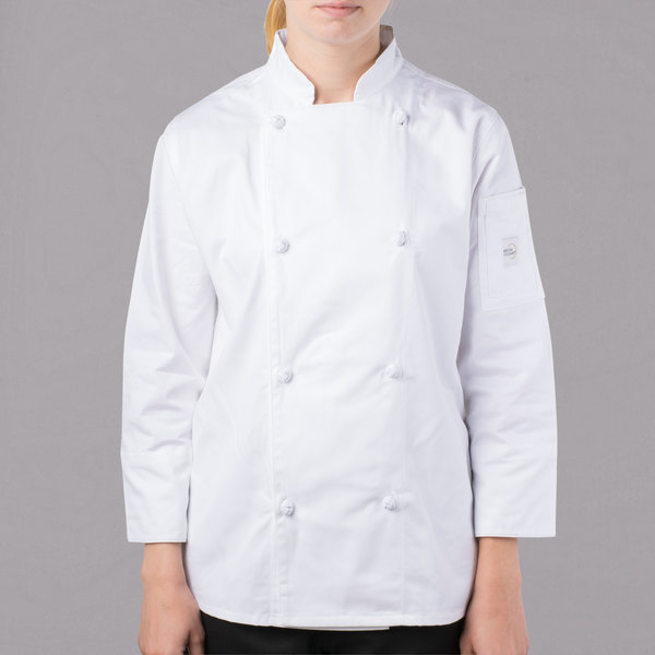 """Mercer Culinary M61040WHXS Genesis Women's 32"""" XS Customizable White Double Breasted Traditional Neck Long Sleeve Chef Jacket with Cloth Knot Buttons"""