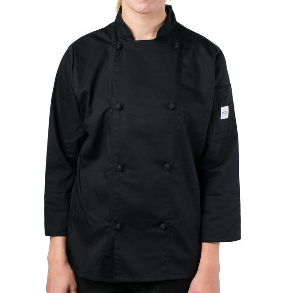 """Mercer Culinary M61040BKM Genesis Women's 36"""" Medium Customizable Black Double Breasted Traditional Neck Long Sleeve Chef Jacket with Cloth Knot Buttons"""