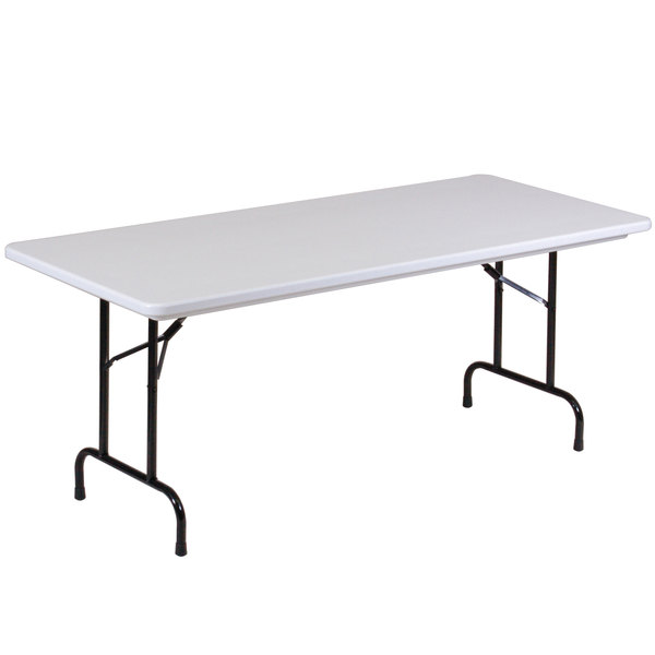"""Correll Folding Table, 30"""" x 72"""" Tamper-Resistant Plastic, Gray - RX3072"""
