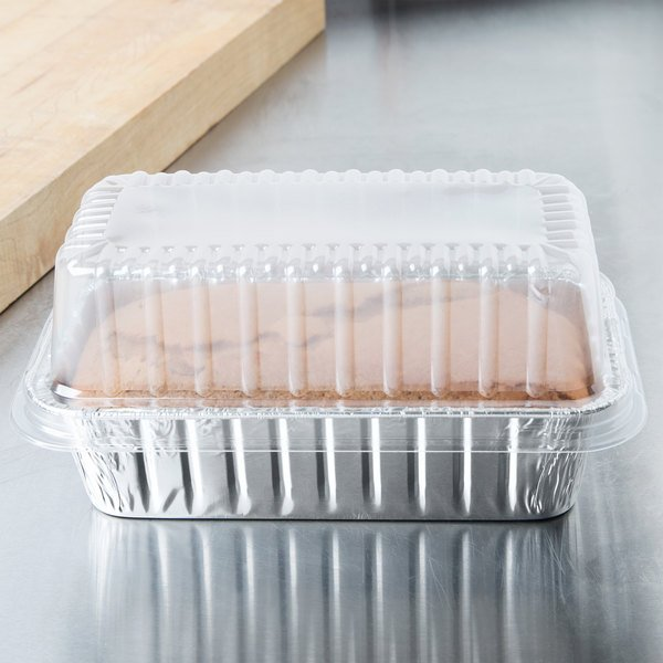 Durable Packaging 2 lb Foil Bread Loaf Pan with Clear Dome Lid 25