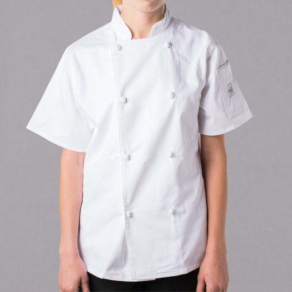 """Mercer Culinary M61042WHL Genesis Women's 38"""" Large Customizable White Double Breasted Traditional Neck Short Sleeve Chef Jacket with Cloth Knot Buttons"""