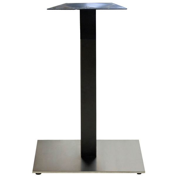 Grosfillex Us123209 Vanguard 22 Square Black Stainless Steel Indoor Bar Height Pedestal Table Base