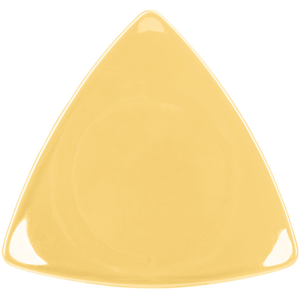 "CAC TRG-16YLW Festiware Triangle Flat Plate 10 1/2"" - Yellow - 12/Case"