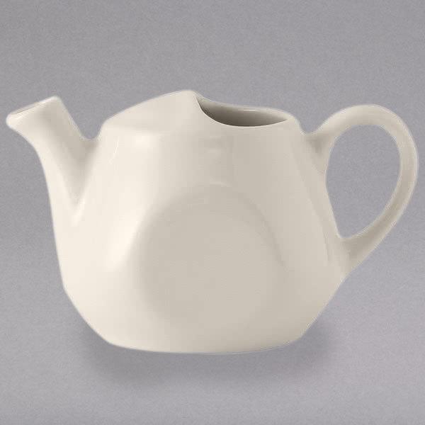 Tuxton BET-1601 DuraTux Healthcare 16 oz. Ivory (American White) China Tea Pot