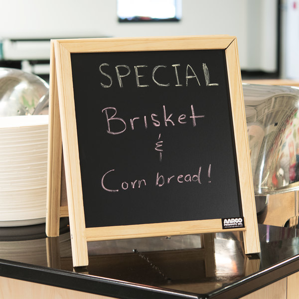"""Aarco TA-1 14"""" x 12"""" Tabletop A-Frame Sign with Black Chalkboard"""